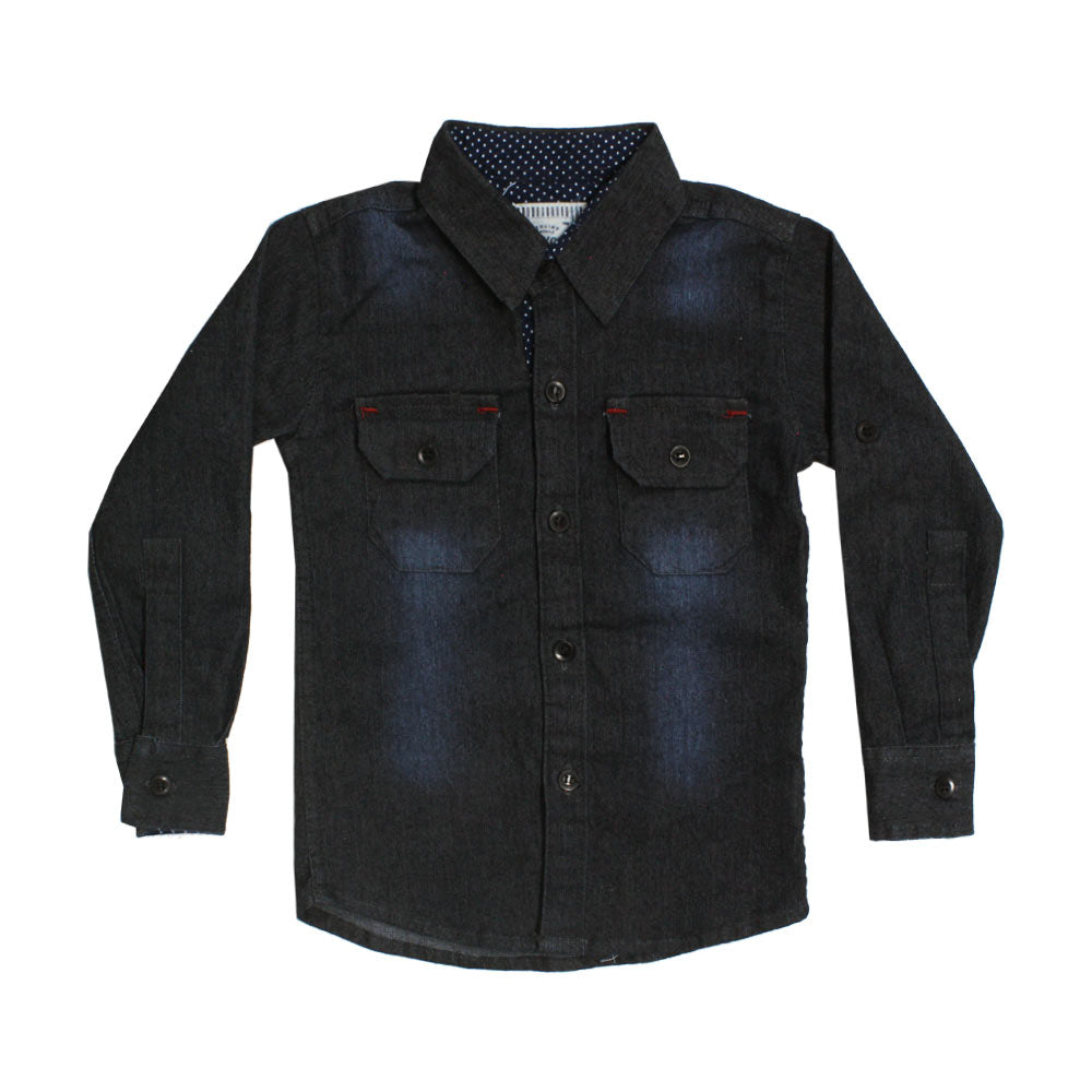 OSHKOSH Navy Blue Front Pock Check Premium Cotton Casual Winter Shirt
