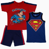 Super Man Red and Navy Blue Boys 3 piece Set