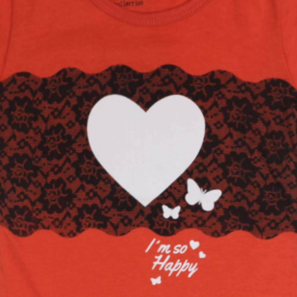 GEE JAY Big Heart Orange Girls Premium Cotton Tshirt