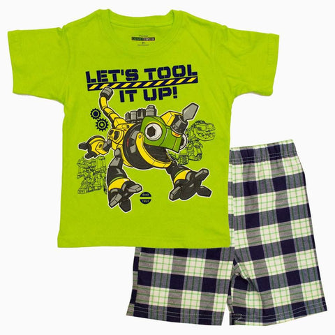 DINOTRUX Tool it up Boys Florascent Green 2 Piece Set
