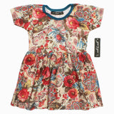 Gee Gee All over Flower Feel Less Print Poly Cotton Yellow Dress