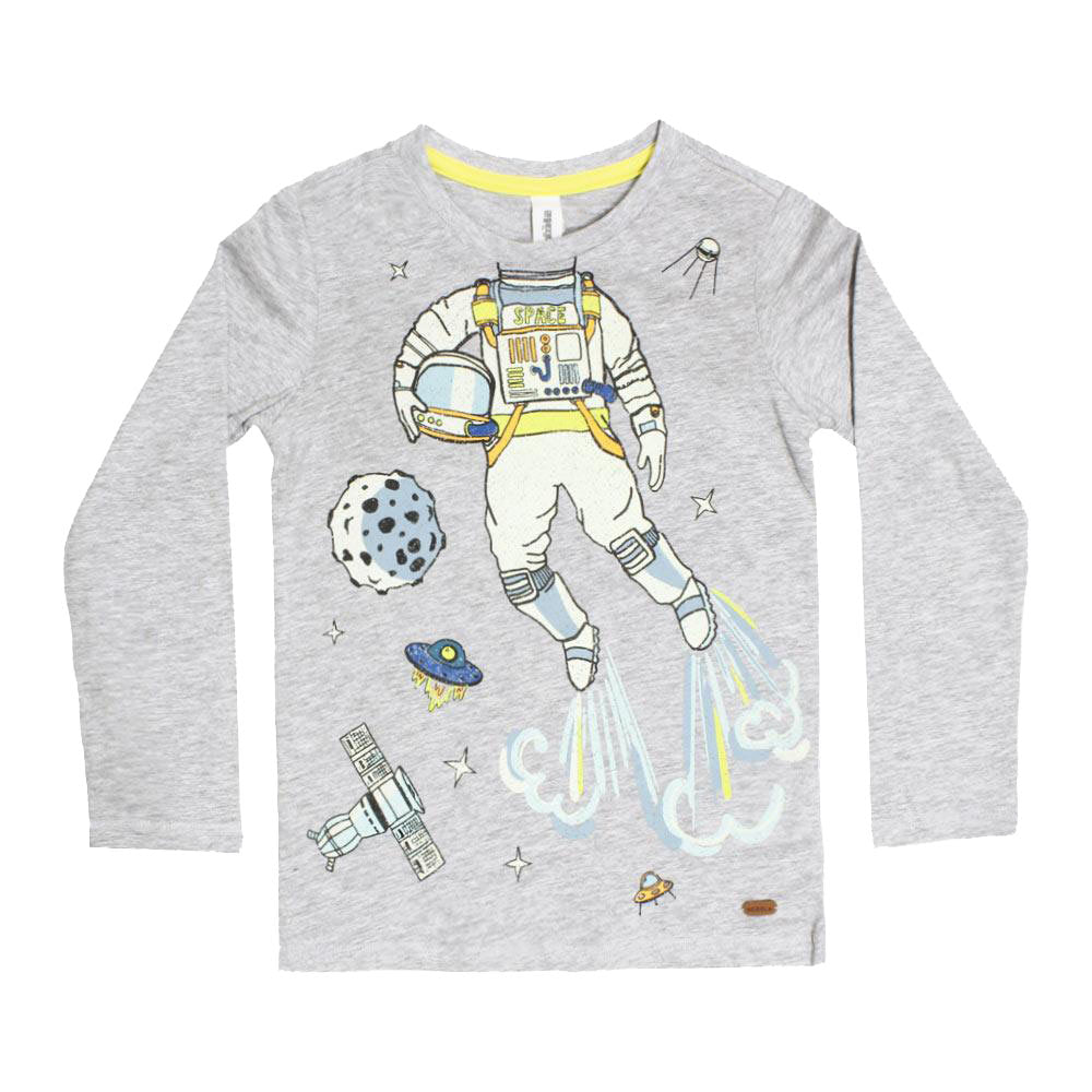 ACOOLA Space Men Print Grey Boys Premium Cotton Tshirt 2 Piece Set