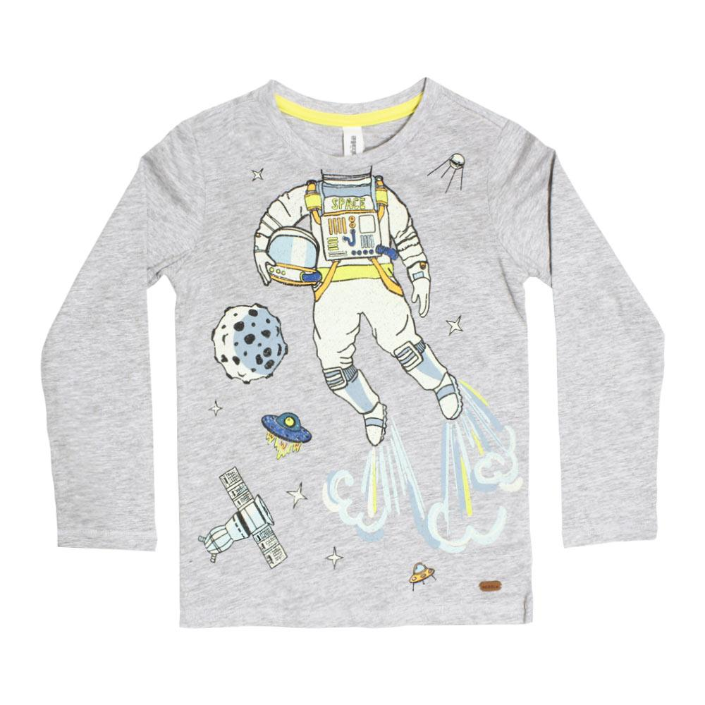 ACOOLA Space Men Print Grey Boys Premium Cotton Tshirt