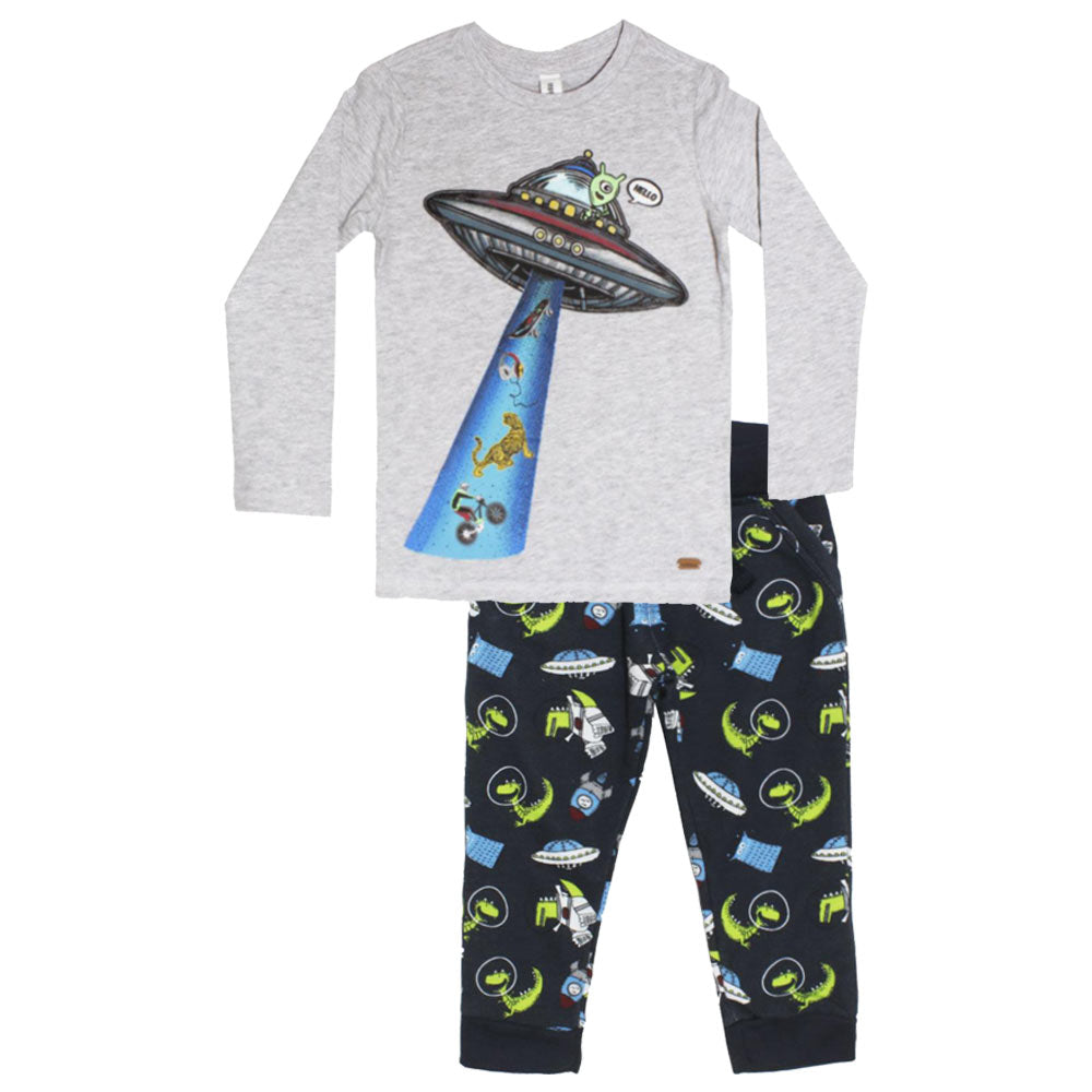 ACOOLA Space Ship Print Grey Boys Premium Cotton Tshirt 2 Piece Set