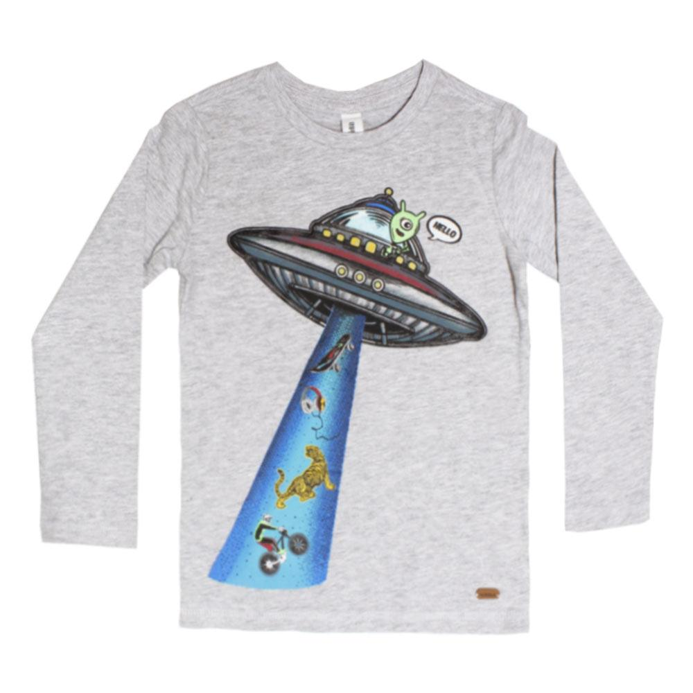 ACOOLA Space Ship Print Grey Boys Premium Cotton Tshirt