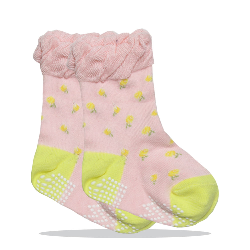 All Over Flower Print Pink Girls Cotton Socks