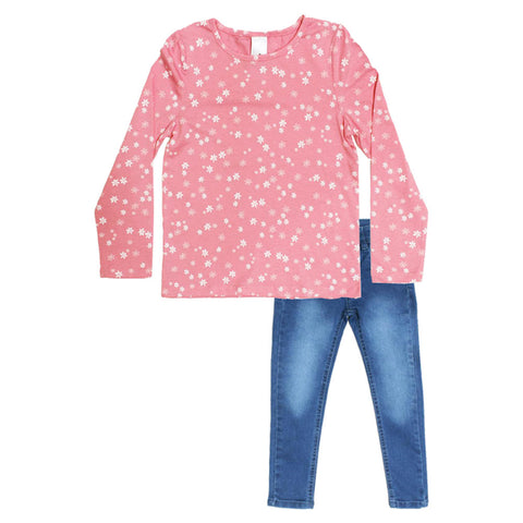 All Over Star Print Pink Girls Premium Cotton 2 Piece Set