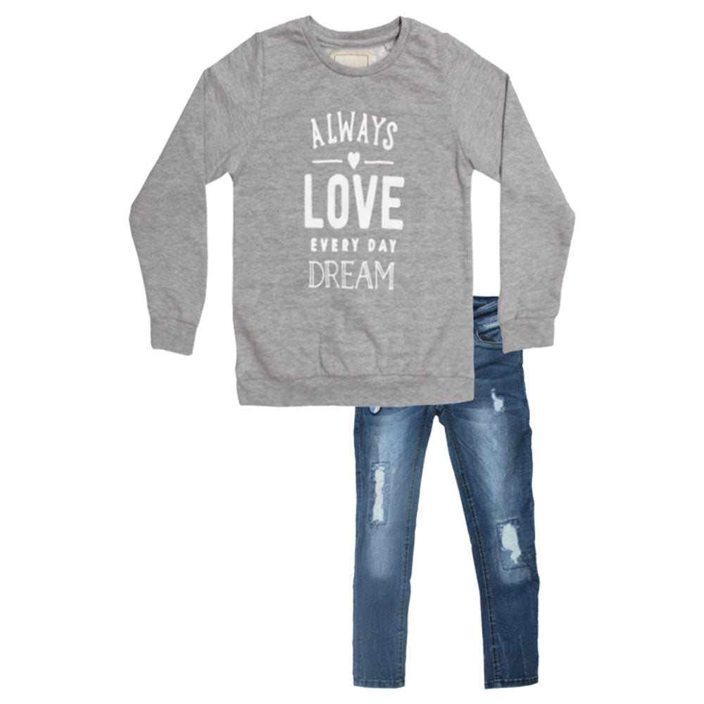 Always Love Grey Butterfly Jeans Girls Sweat Shirt 2 Piece Set