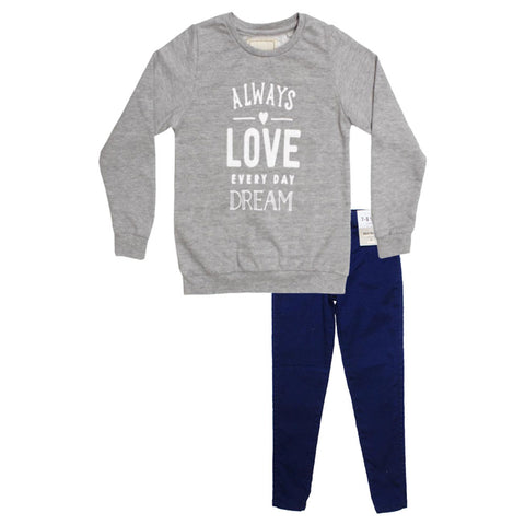 Unit Girls Always Love Grey Girls Sweat Shirt 2 Piece Set