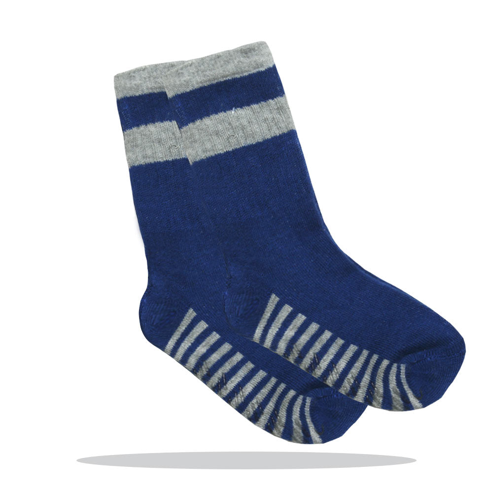 Anti Skid Blue And Grey Boys Cotton Socks