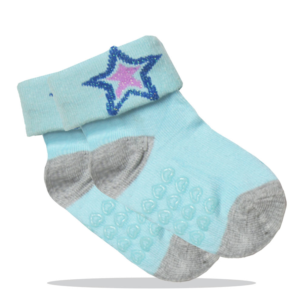 Anti Skid Glitter Star Blue Girls Cotton Socks