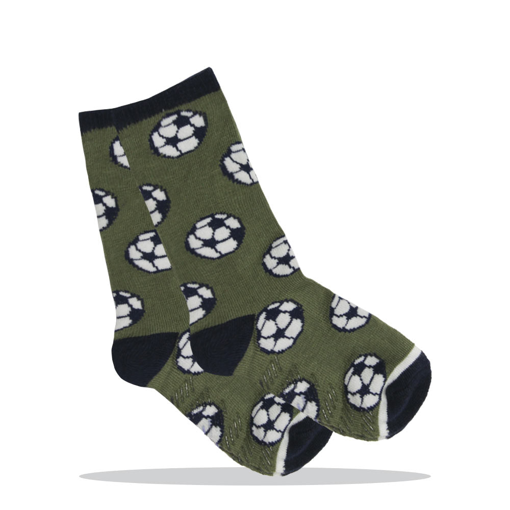 Anti Skid Print Balls Print Green Boys Cotton Socks