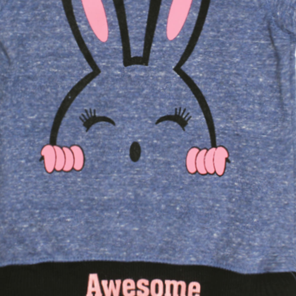 BABY CLUB Awesome Rabbit Print Blue Cotton Terry Sweat Shirt