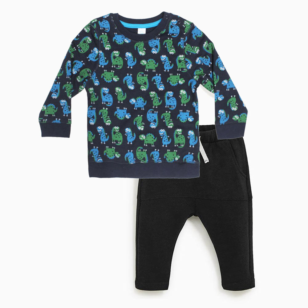 BABY CLUB All Over Dino Print Blue Boys Cotton Fleece Sweat Shirt 2 Piece Set