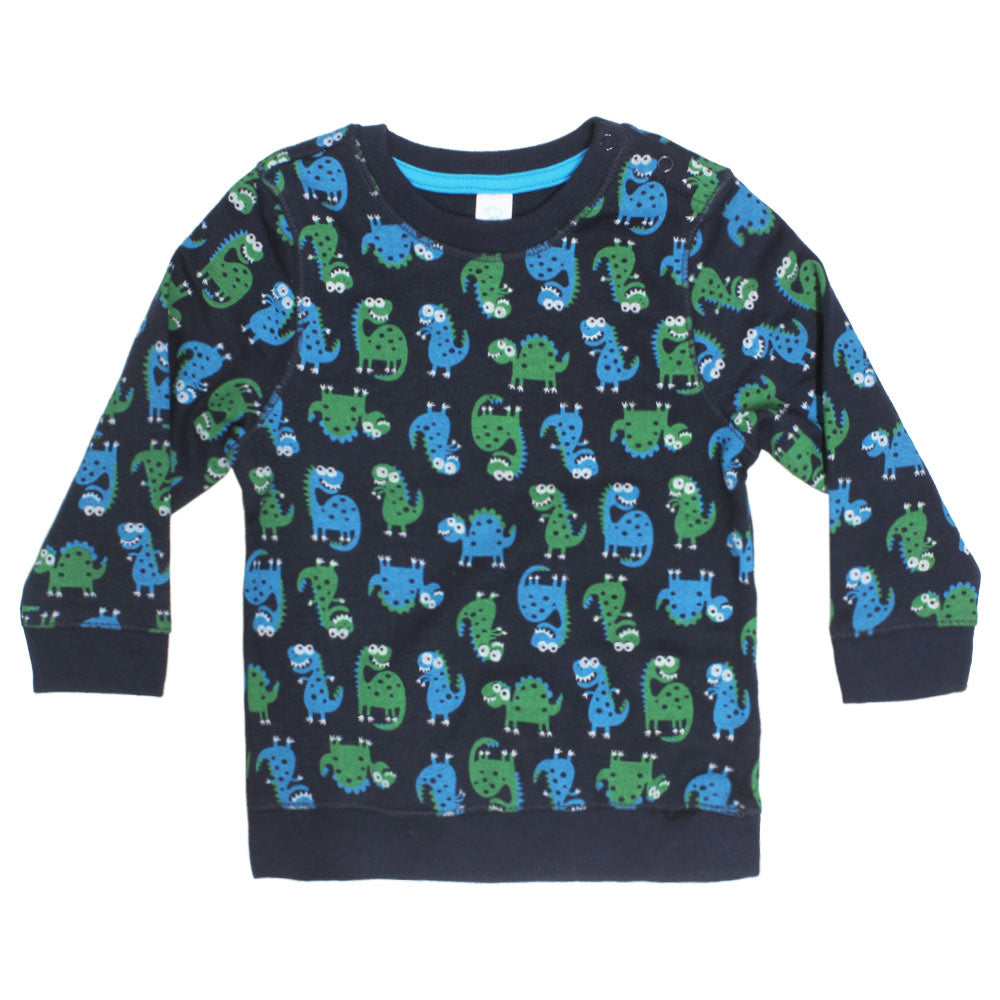 BABY CLUB All Over Dino Print Blue Boys Cotton Fleece Sweat Shirt