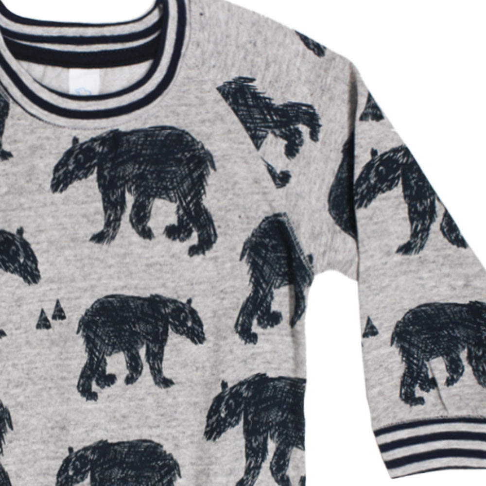 BABY CLUB Animal Print Grey Boys Cotton Fleece Sweat Shirt