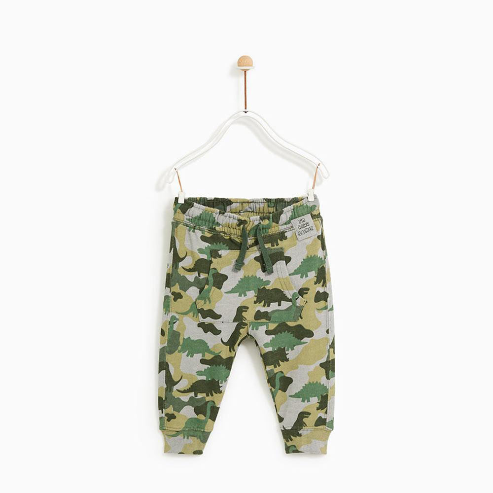 BABY CLUB Camouflage Print Green Boys Cotton Terry Sweat Shirt 2 Piece Set