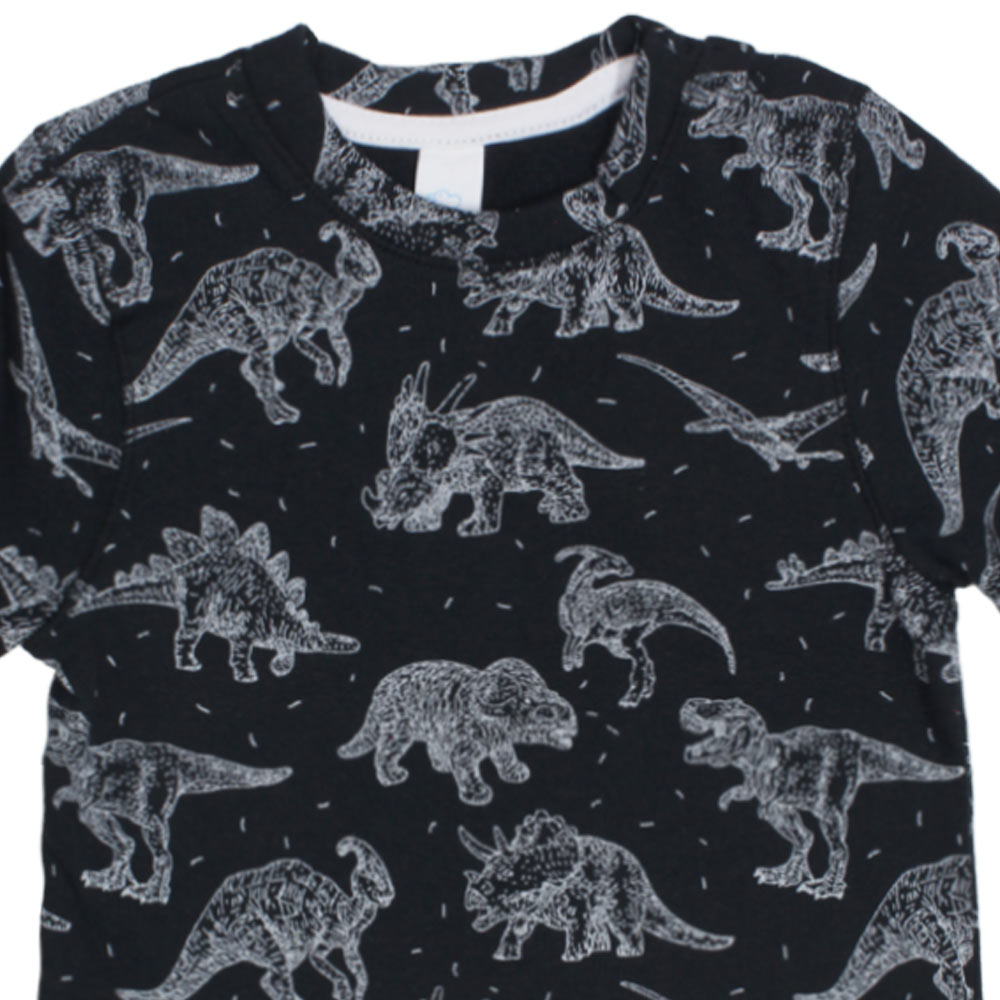 BABY CLUB Dino Print Black Boys Cotton Fleece Sweat Shirt