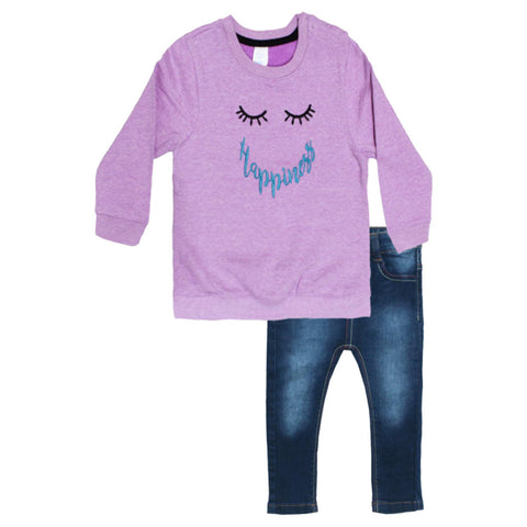 BABY CLUB Eyes Embroidery Purple Girls Cotton 2 Piece Set