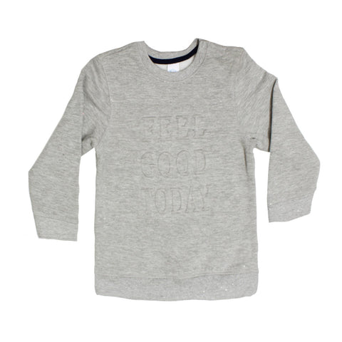 BABY CLUB Feel Good Today Grey Boys Cotton Fleece Sweat Shirt