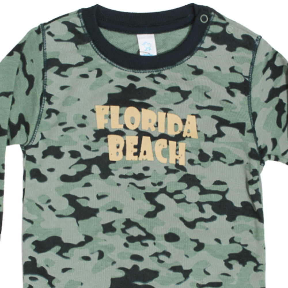 BABY CLUB Florida Beach Camouflage Print Green Boys Cotton Fleece Sweat Shirt