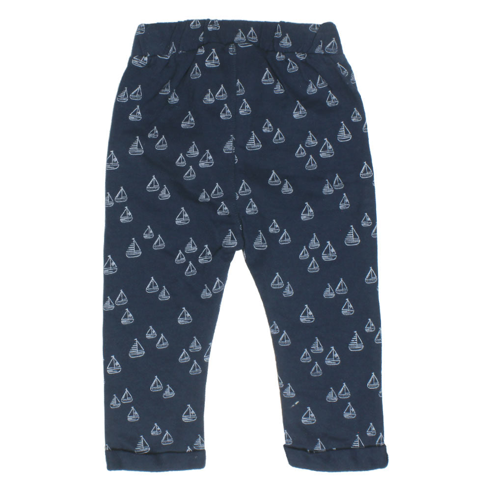 BABY CLUB Ship Print Blue Boys Cotton Fleece  Trouser