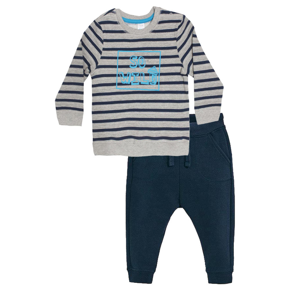 BABY CLUB So Wild Blue And Grey Boys Cotton Fleece Sweat Shirt 2 Piece Set