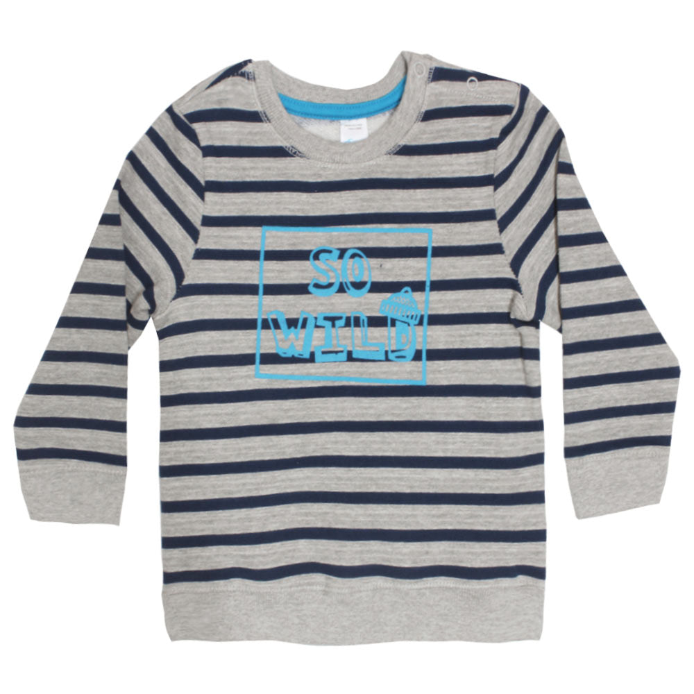 BABY CLUB So Wild Blue And Grey Boys Cotton Fleece Sweat Shirt