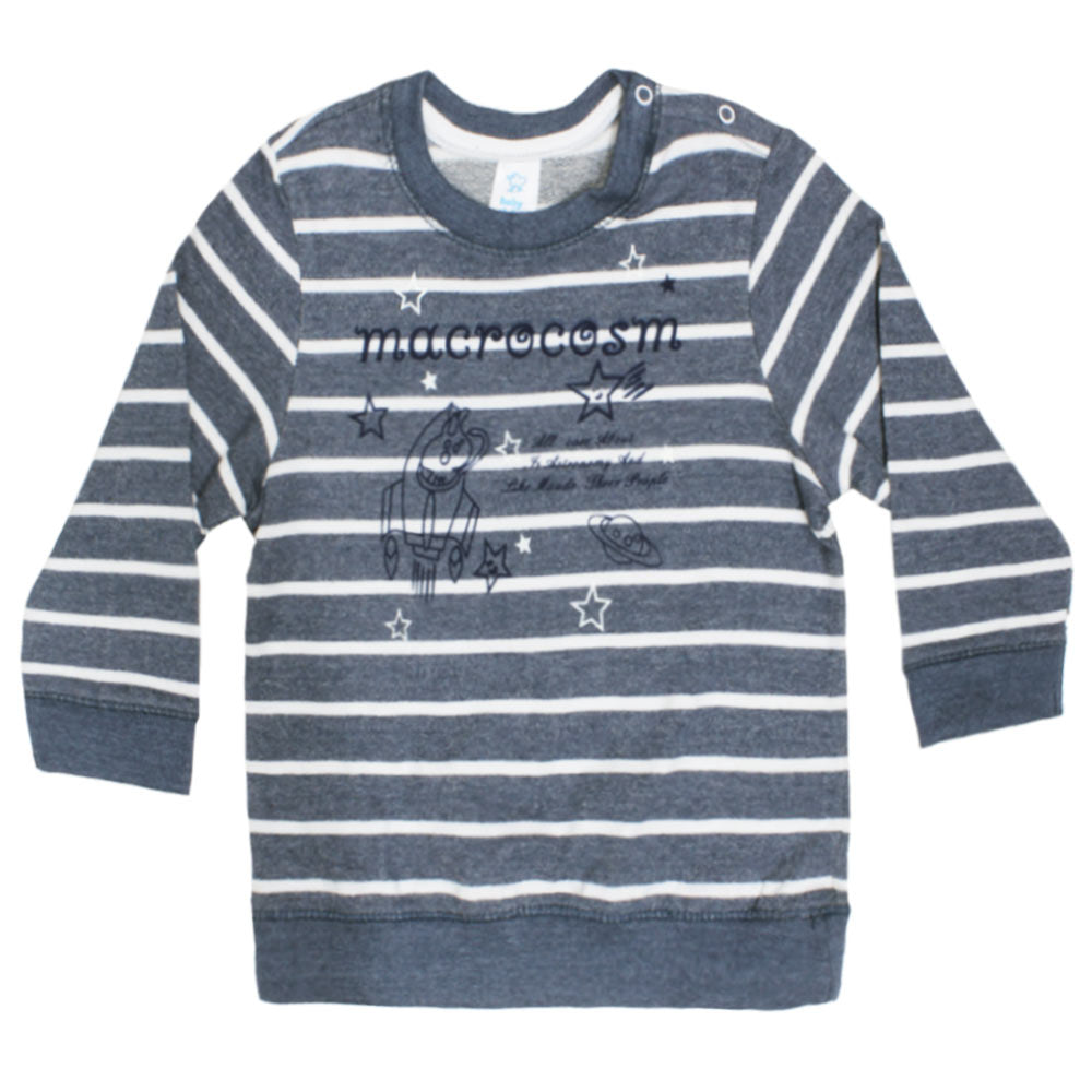 BABY CLUB Space Print Blue Boys Cotton Terry Sweat Shirt