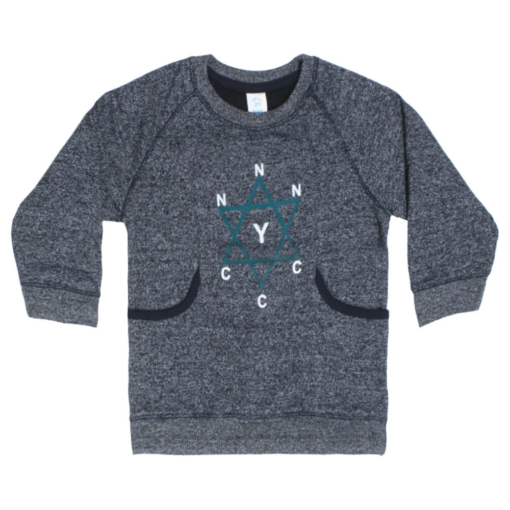BABY CLUB Star Print Blue Boys Cotton Fleece Sweat Shirt