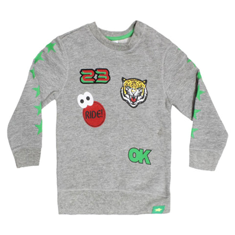 BABY CLUB Tiger Face Grey Boys Cotton Sweat Shirt 2 Piece Set