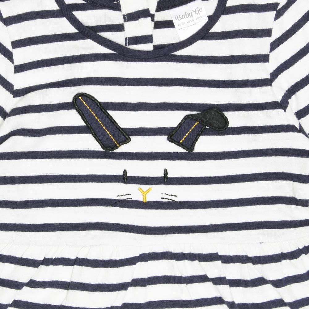 BABY GO Face Embroidery Blue And White Stripes Girls Cotton Dress