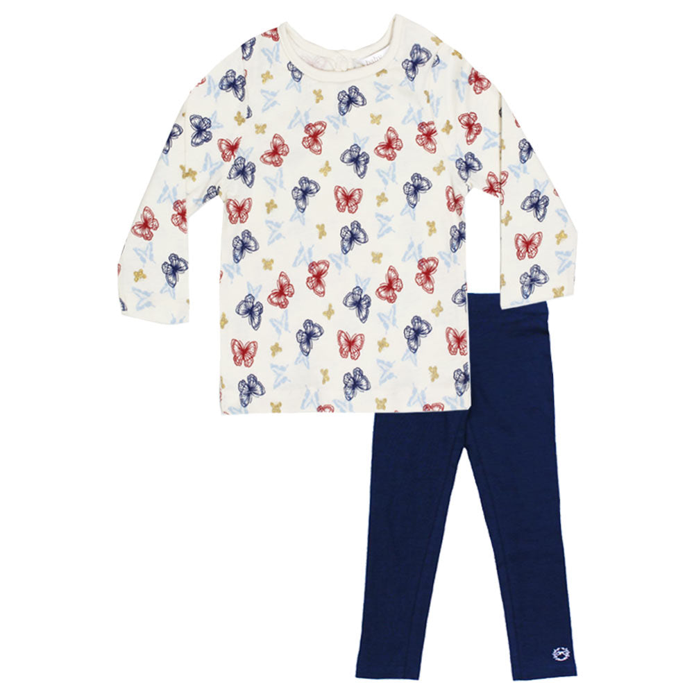 BABY M And Co Butterfly Print Off White Girls Premium Cotton Tshirt 2 Piece Set