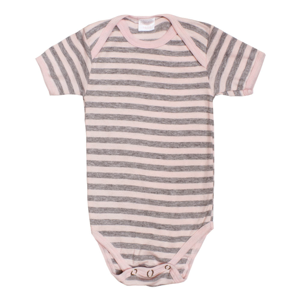 BAMBINO Pink And Grey Cotton Romper