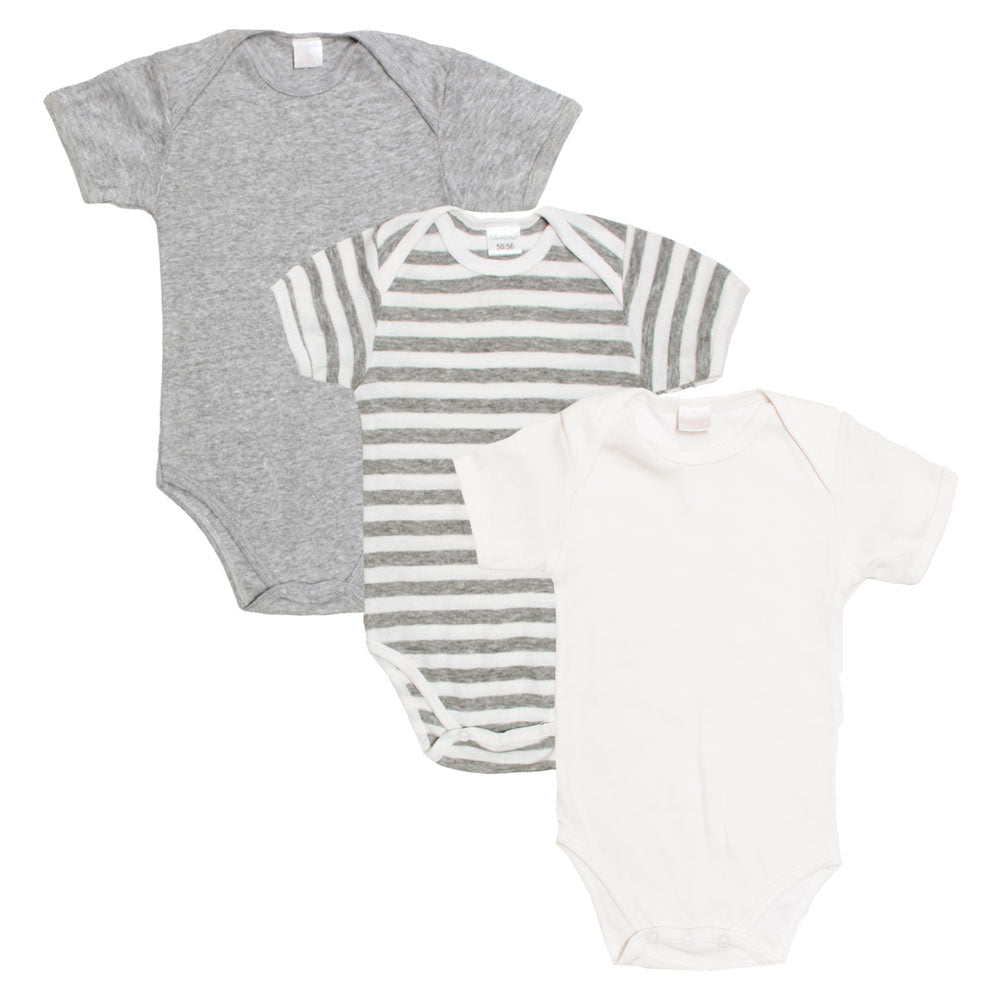 BAMBINO White Grey Boys Cotton Romper 3 Piece Set