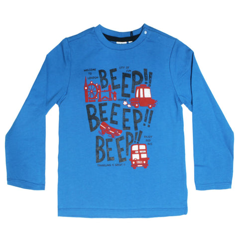 BLUE KIDS Beep Beep Blue Boys Premium Cotton Tshirt