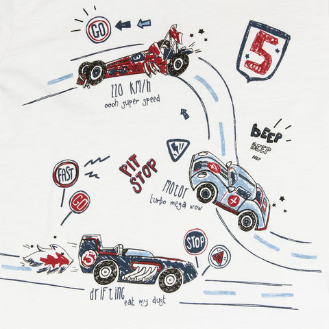 BLUE KIDS Race Car Print White Boys Premium Cotton Tshirt
