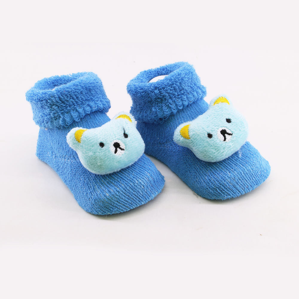 Blue Bear Face Unisex Cotton Baby 3D Socks