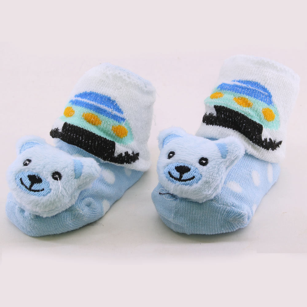 Blue Bear Polka Dots Unisex Cotton Baby 3D Socks