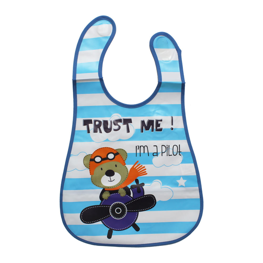 Baby Soft Waterproof Blue Cartoon Print Unisex Bib