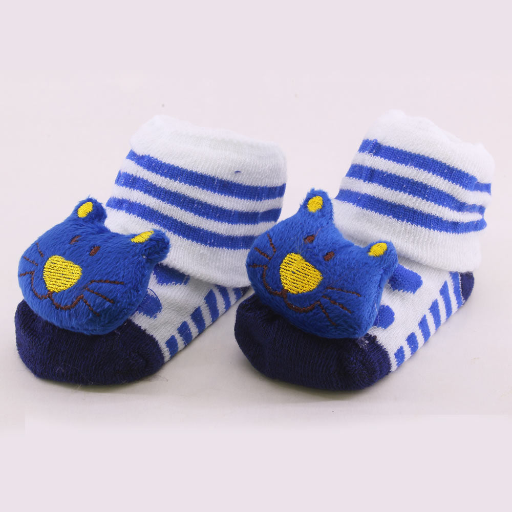 Blue Cat Print Unisex Cotton Baby 3D Socks