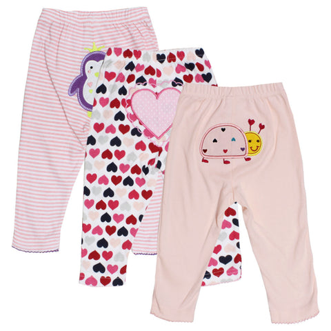 CARTER All Over Heart Print Embroidery Pink Girls 3 Piece Trouser Bundle