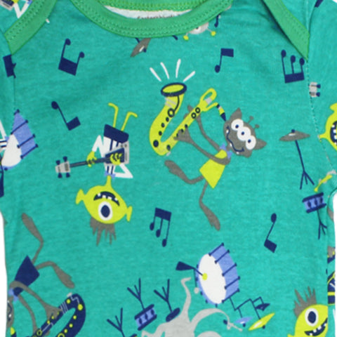 CARTER Band Print Green Boys Cotton Romper