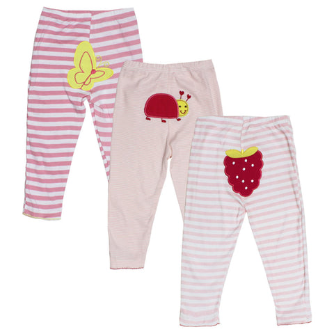 CARTER Butterfly Embroidery Pink Girls Cotton Trouser 3 Piece Bundle