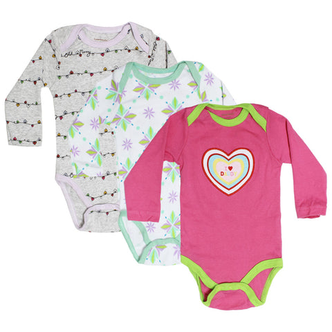 CARTER Heart Embroidery Pink Girls Cotton 3 Piece Bundle