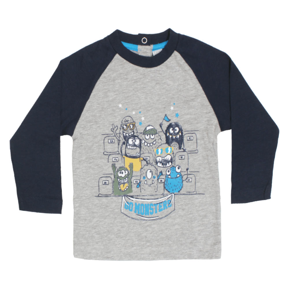 CHICCO All Over Monsters Print Grey And Blue Boys Premium Cotton Tshirt