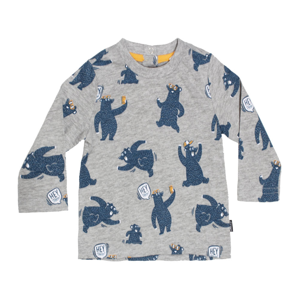 CHICCO Funny Bear Print Grey Boys Premium Cotton Tshirt