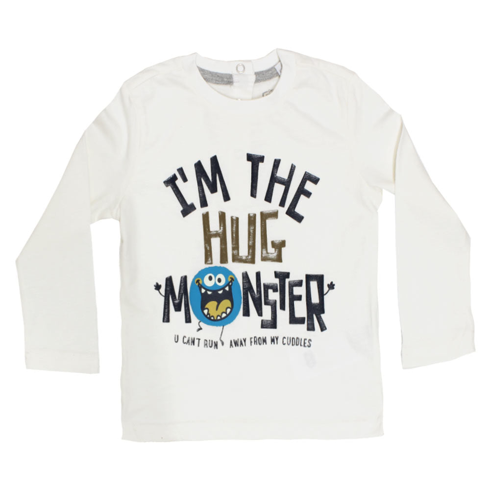 CHICCO I Am The Hug White Boys Premium Cotton Tshirt
