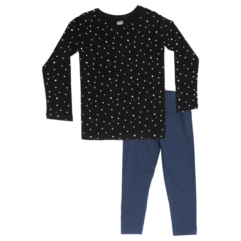 COOL CLUB Polka Dots Black Girls Premium Cotton 2 Piece Set