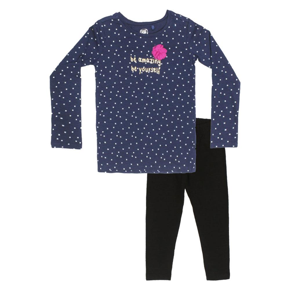 COOL CLUB Polka Dots Blue Girls Premium Cotton 2 Piece Set